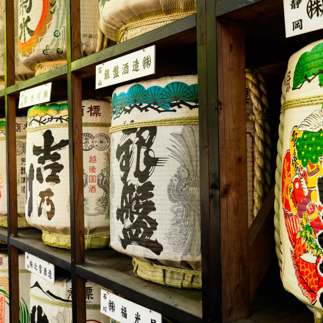 """TOKYO - CIRCA APRIL, 2014: Sake kegs are offered to shrines as a sign of good will on CIRCA April, 2014"" stock image"