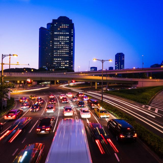 """Long exposure traffic scene of tokyo"" stock image"