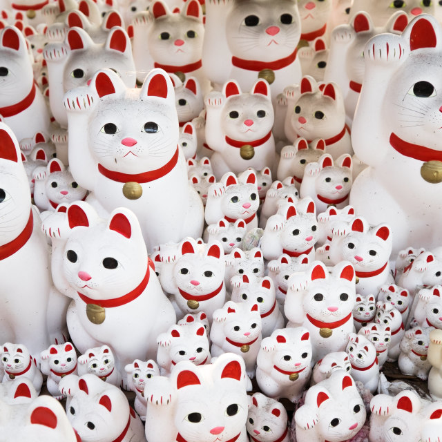"""""""Maneki neko also known as chinese fortune cat"""" stock image"""