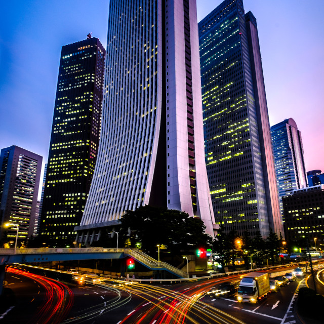 """traffic in hinjuku financial district"" stock image"
