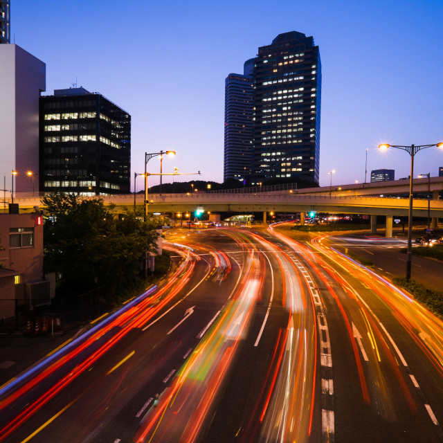 """Long exposure traffic scene of tokyo"" stock image"