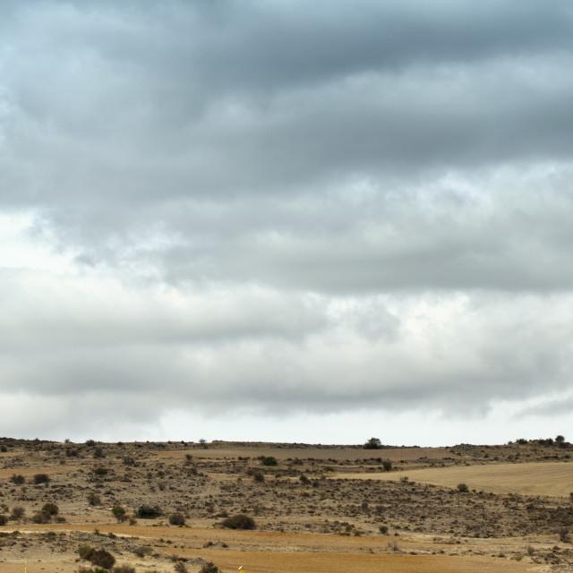 """Installation of wind turbines panorama"" stock image"