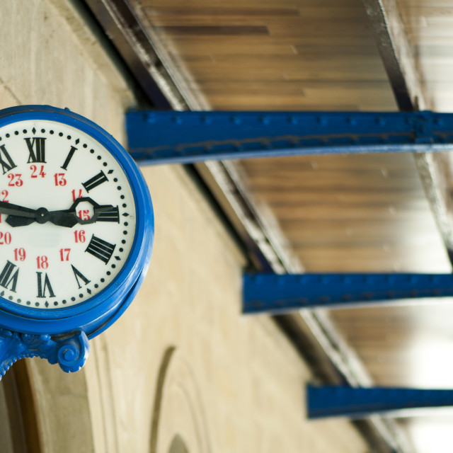 """Antique external clock on railway station"" stock image"