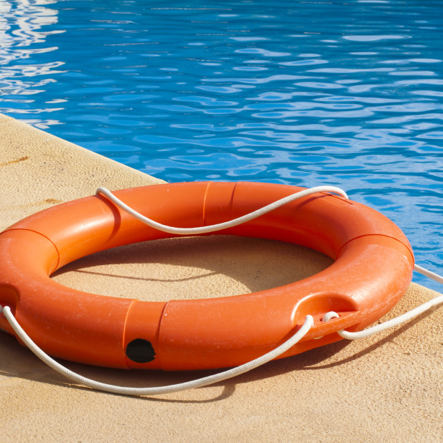 """Buoy and swimming pool"" stock image"