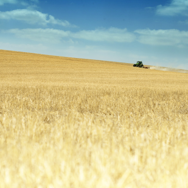 """Tractor plowing field"" stock image"
