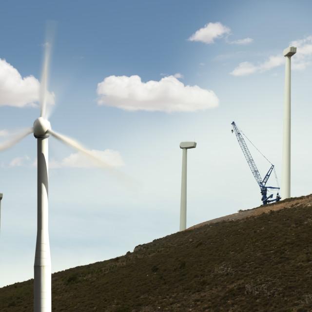 """Installation of wind turbines"" stock image"