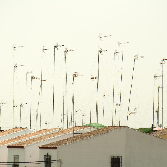 """Houses and antennas"" stock image"