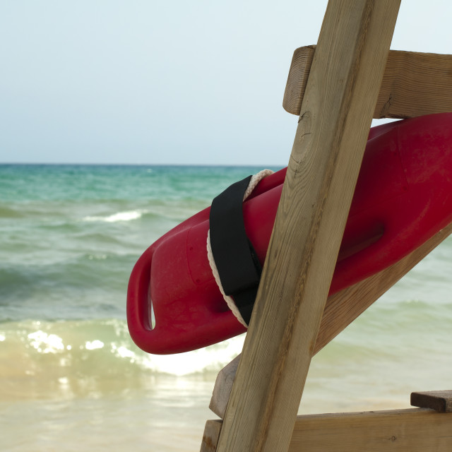 """Red buoy for a lifeguard to save people"" stock image"