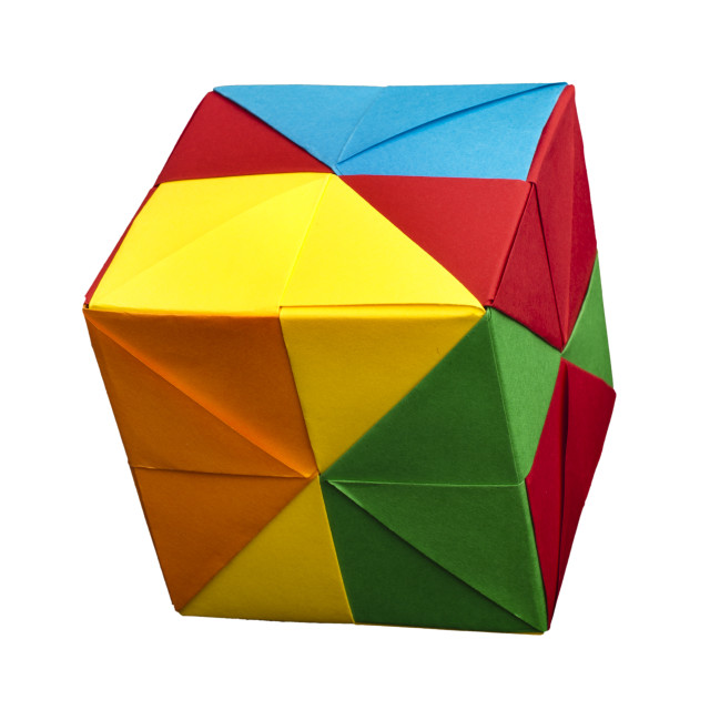 """""""Paper cubes folded origami style."""" stock image"""