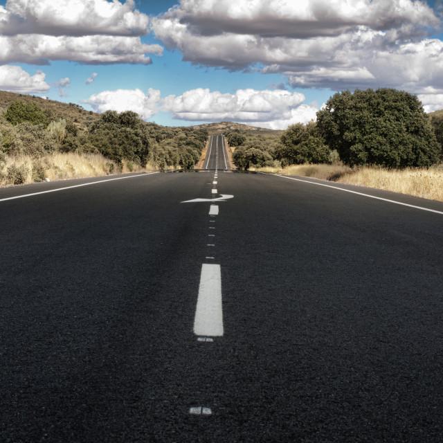 """Asphalt road and white line marking"" stock image"