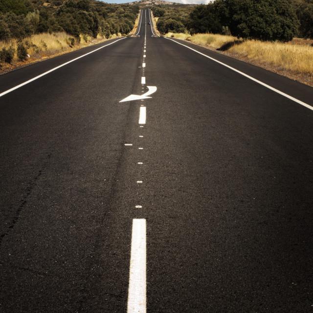 """Asphalt road and white line marking."" stock image"