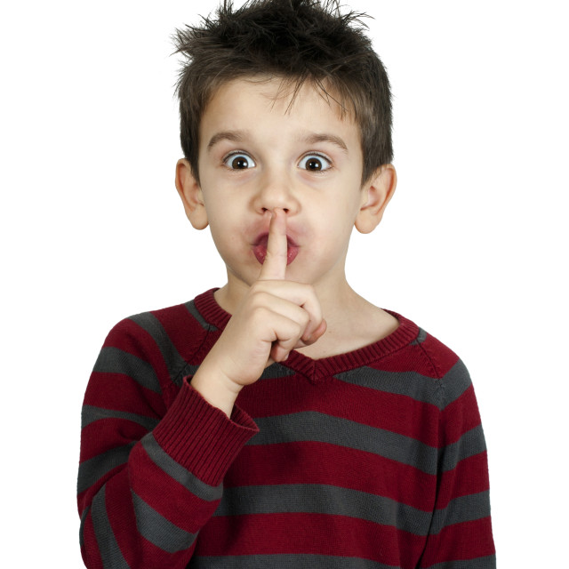 """Little boy showing silence"" stock image"
