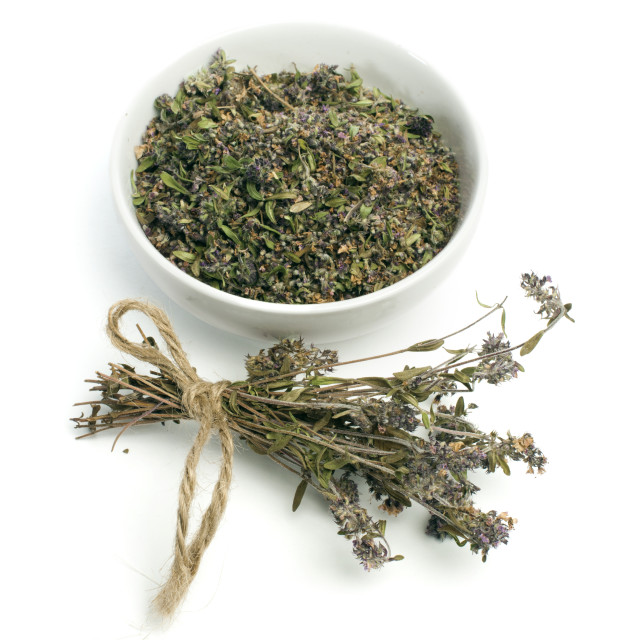 """Dried thyme in a bowl and thyme twigs"" stock image"
