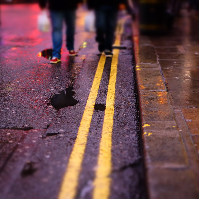 """Two yellow lines in Chinatown"" stock image"