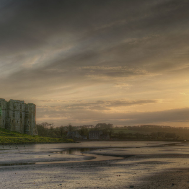 """Carew Castle Sunset"" stock image"