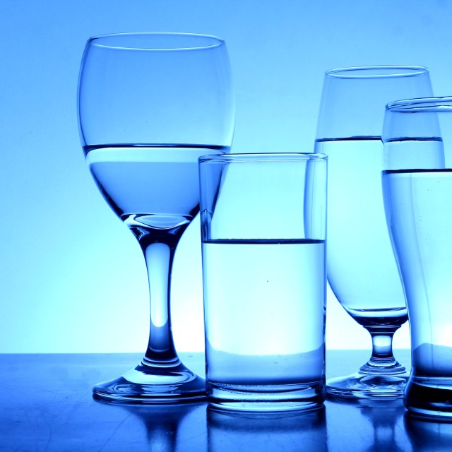"""Different glasses of water"" stock image"