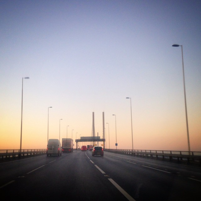 """Dawn at the Dartford Crossing"" stock image"