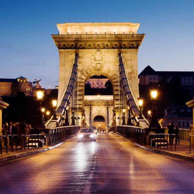 """Chain Bridge in Budapest at Night"" stock image"