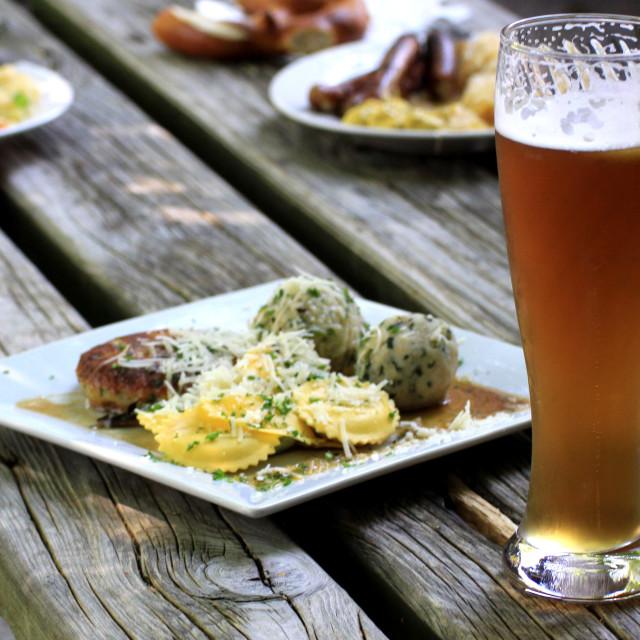 """""""Beer garden in Bavaria"""" stock image"""