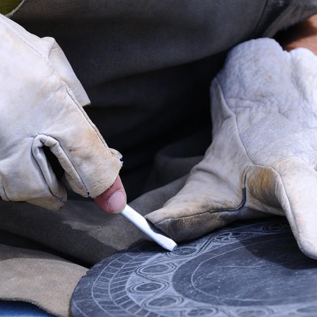 """Artisan carved slate."" stock image"