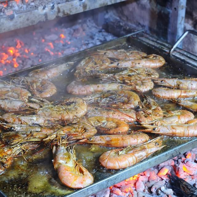 """""""Grilled king prawns"""" stock image"""