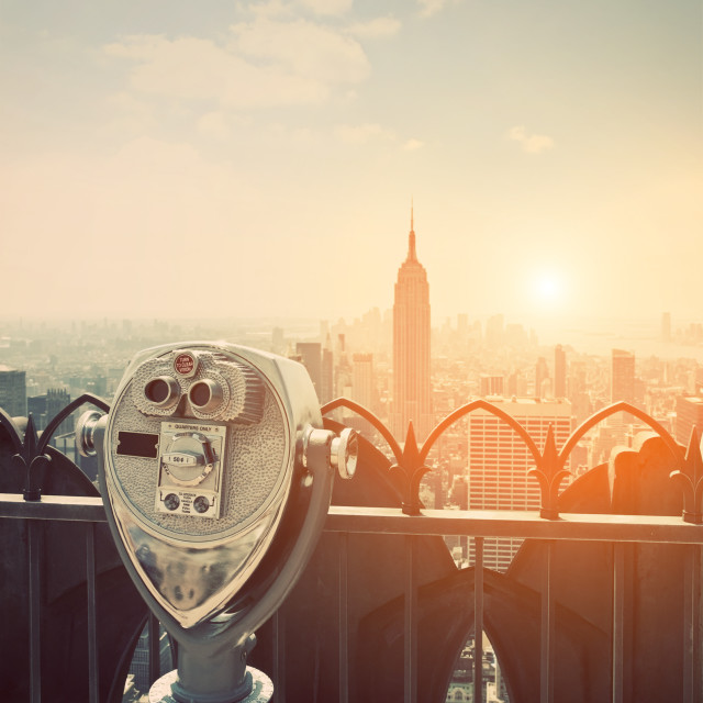 """BInoculars in Manhattan Sunset"" stock image"