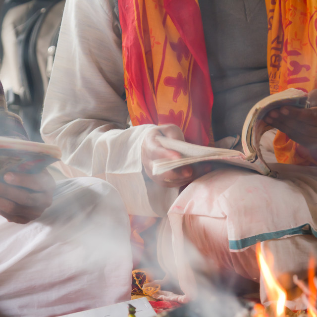 """Brahman read mantra during hindu ceromony"" stock image"