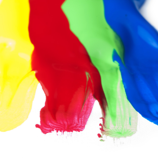 """""""Paint coated on paper. Red, green, blue and yellow colors."""" stock image"""