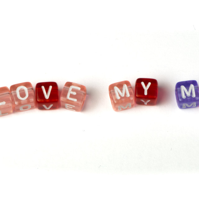 """Phrase I love my mom"" stock image"