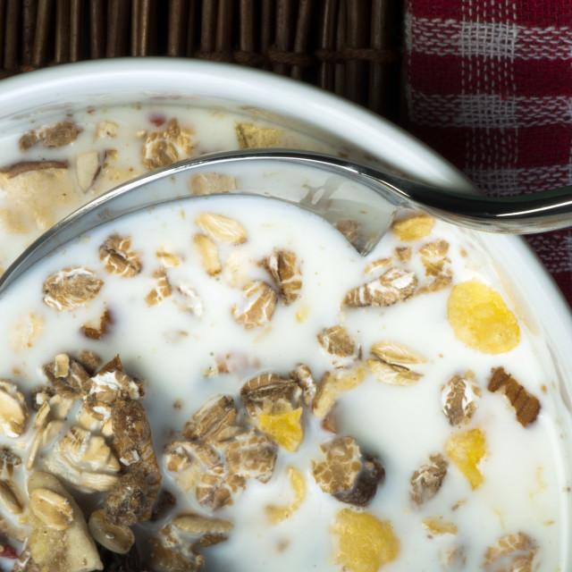 """""""Muesli breakfast in a bowl"""" stock image"""