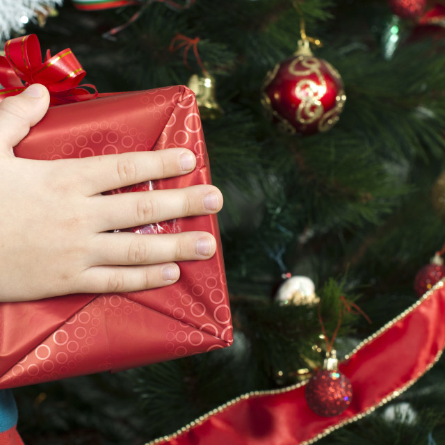 """Children's hands holding Christmas gift"" stock image"