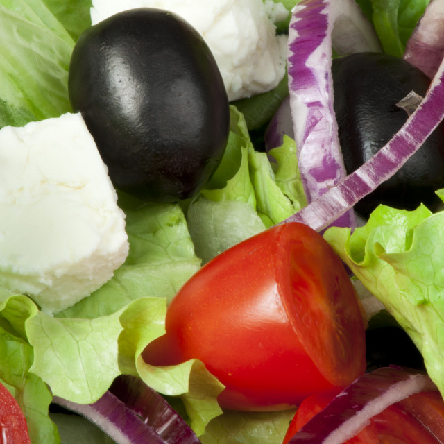 """""""Salad in a glass bowl close up."""" stock image"""