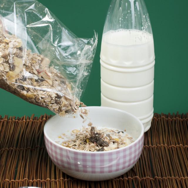 """Muesli breakfast in transparent package"" stock image"
