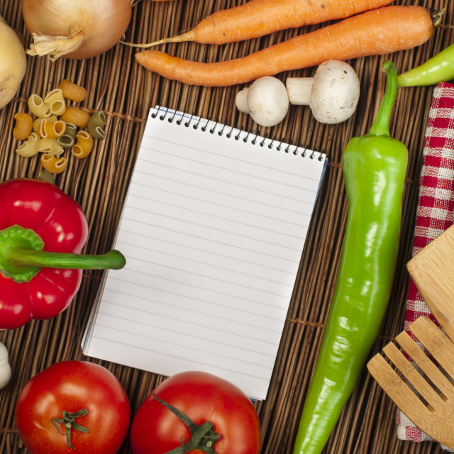 """Notebook to write recipes"" stock image"