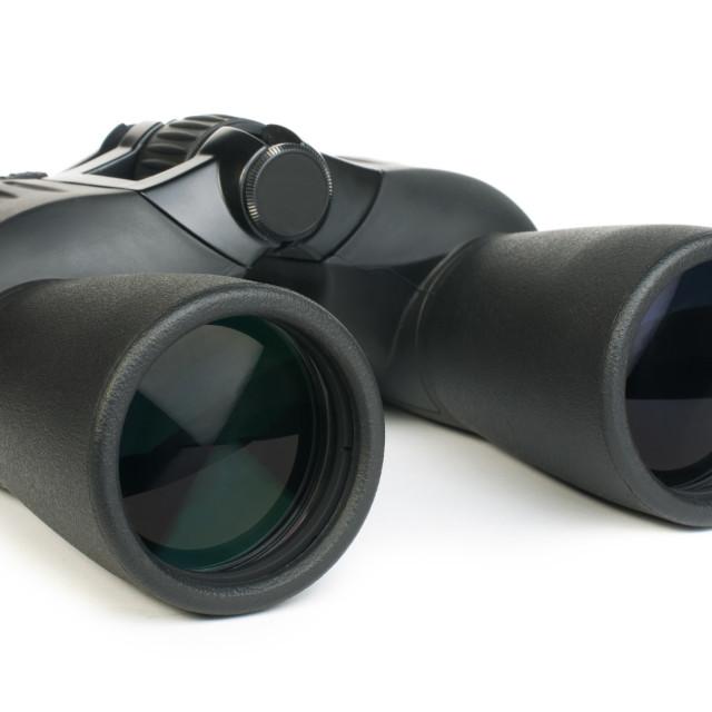 """Binoculars white isolated"" stock image"