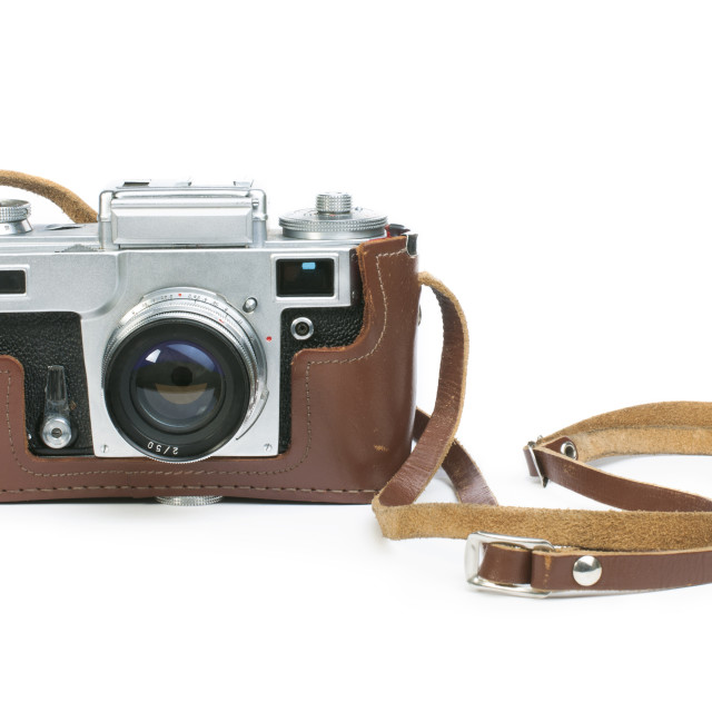 """Old vintage camera white isolated"" stock image"