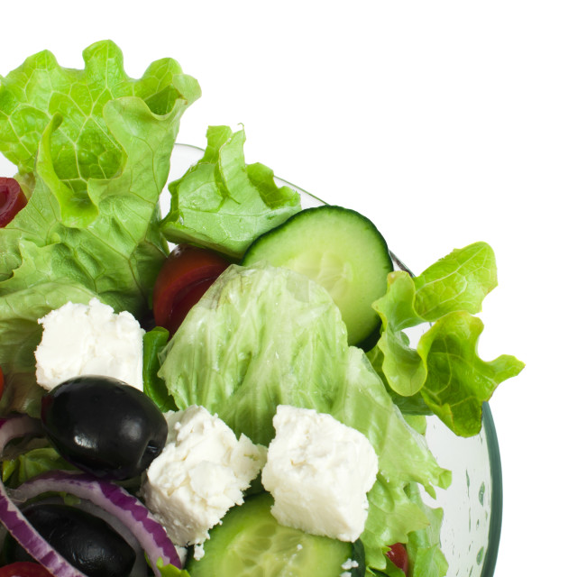 """""""Salad in a glass bowl close up"""" stock image"""