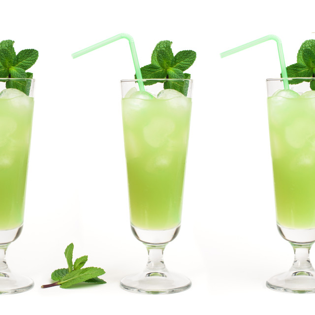 """""""Green cocktail with cubes ice"""" stock image"""