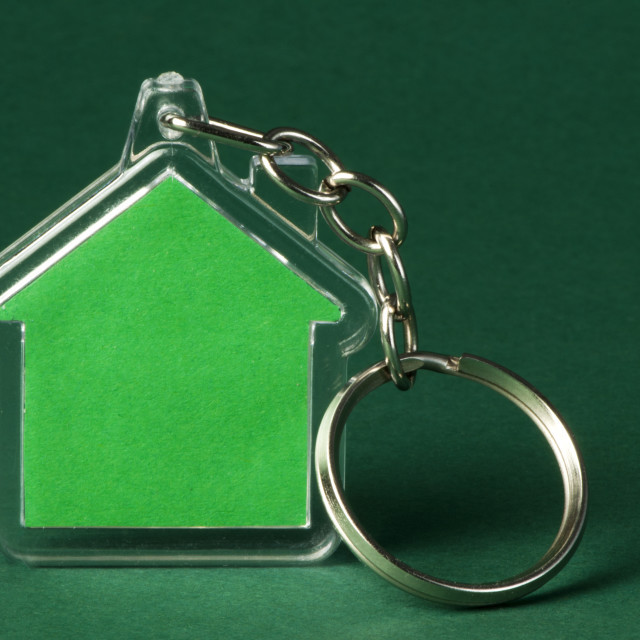 """""""Keychain with figure of green house"""" stock image"""