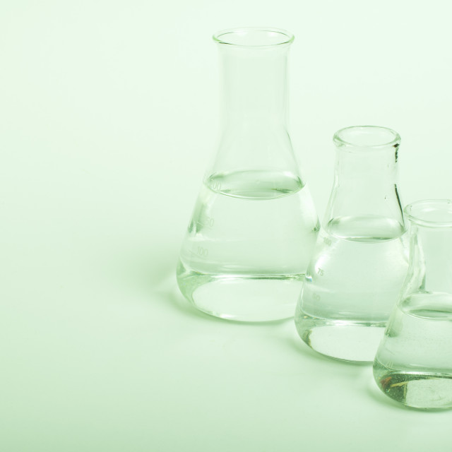 """Empty glass laboratory utensils"" stock image"