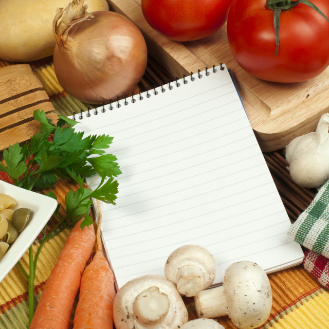 """""""Notebook to write recipes"""" stock image"""