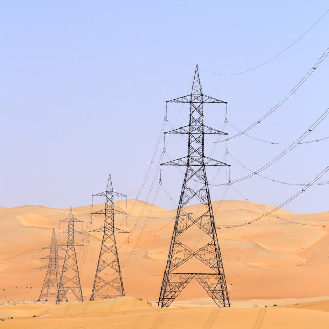 """Pylon in desert"" stock image"