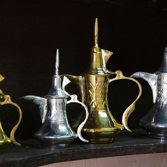 """""""Antique arabian tea jug in gold and silver"""" stock image"""