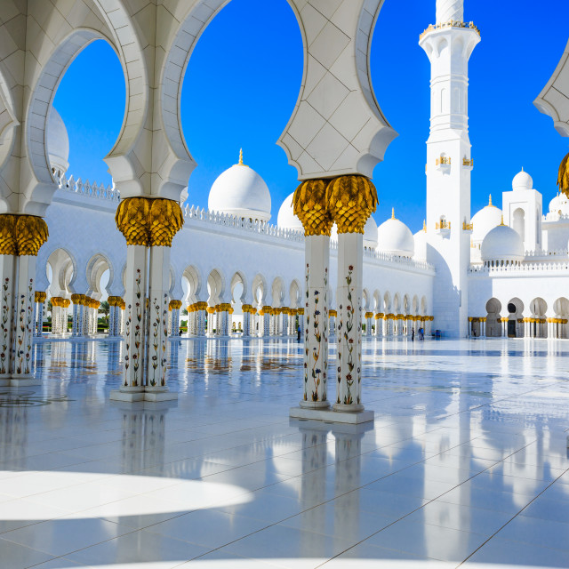 """ABU DHABI, UAE - CIRCA MARCH 2014: Sheikh Zayed Grand Mosque, Abu Dhabi, in Abu Dhabi. The largest mosque in United Arab Emirates"" stock image"