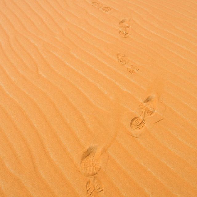 """Foot prints in desert"" stock image"