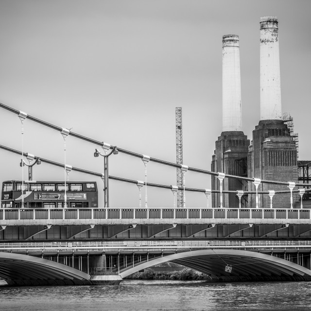 """Battersea Power Station and Double Decker Bus"" stock image"
