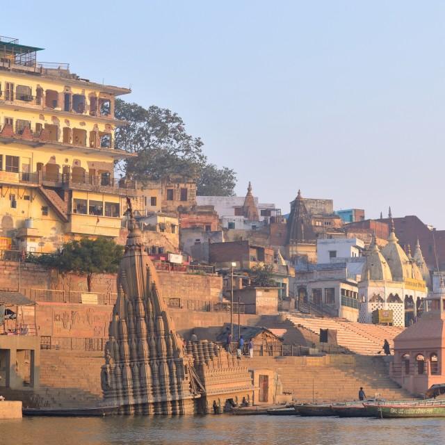 """""""Scindhia ghat, Varanasi."""" stock image"""