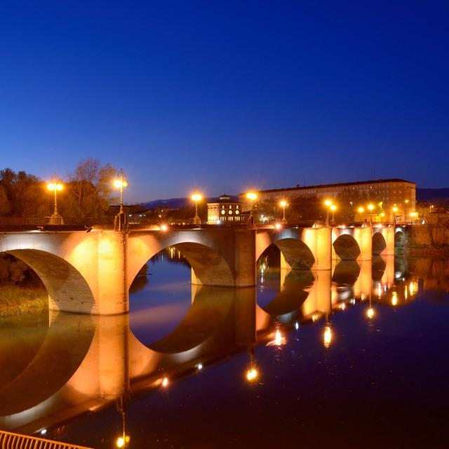 """""""stone bridge at dusk"""" stock image"""