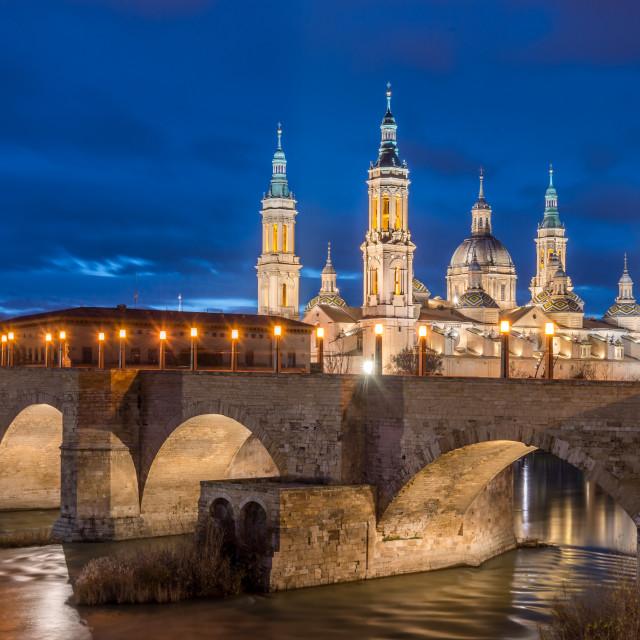 """""""View of Basilica Pilar in Zaragoza , Spain."""" stock image"""