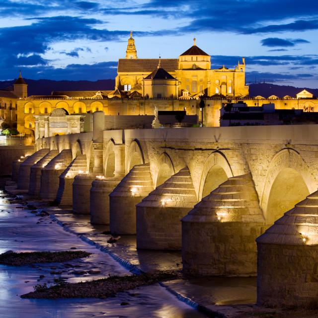 """Cathedral Mosque and Roman Bridge in Cordoba"" stock image"